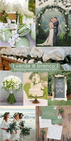 Decoração de Casamento : Paleta de Cores Verde e Branco