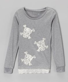 Look at this Dreamstar Heather Gray Lace Skull Crewneck Tee - Girls on #zulily today!