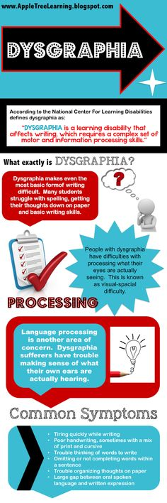 """Dysgraphia is a learning disability that affects writing, which requires a complex set of motor and information processing skills."""