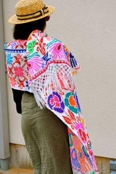Handmade Embroidery Full Length Poncho by CraftyCloth on Etsy