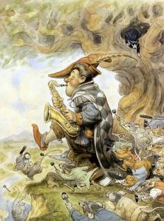 A funny illustration by Peter de Seve of an alternative fairy tale version of the Pied Piper