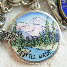 Vintage silver and hand-painted enamel Seattle, Washington souvenir charm ~ A Genuine Find