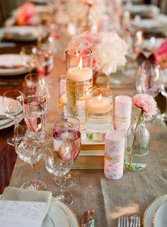 candles + books tablescape