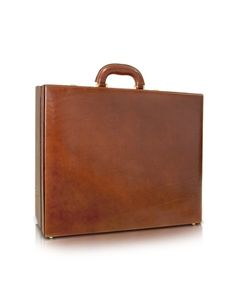 Mens Handmade Brown Leather Attache Briefcase -  Mens Handmade Brown Leather Attache Briefcase Chiarugi Chiarugis classic attach briefcase in vegetable-tanned leather features a double combination lock closure, spacious interior complete with compartments for cell, pen and cards and an adjustable strap to secure your laptop....