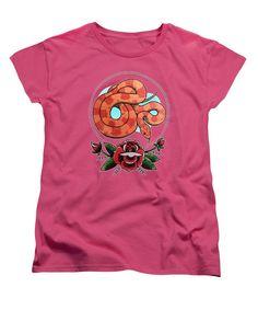Rosy Ratsnake Womens T-Shirt in hot pink by Donovan Winterberg