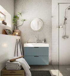 GODMORGON / ODENSVIK kast voor wastafel met 2 lades | IKEA IKEAnl IKEAnederland inspiratie wooninspiratie interieur wooninterieur badkamer douche opbergen spiegel opberger kraan tegels bad handdoek