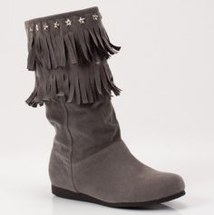 These grey fringed boots are so playful :) $16.25 on Totsy under the Ladies Winter Boots section.