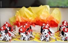 Project Nursery - Fire Truck Party Favors - Dalmatian Puppies and Books! Safari Birthday Party, Puppy Birthday, 4th Birthday Parties, Birthday Party Favors, 3rd Birthday, Birthday Ideas, Kitten Party, Firefighter Birthday, Under The Sea Party