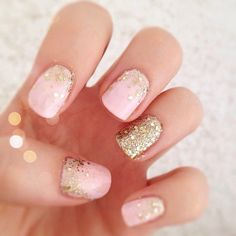 light pink with gold glitter gradient & accent nail