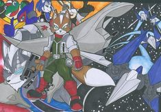 You know for a odd reason I never done a pic of Star fox: I spent a lot of time playing it, since the release day. Fox Games, Nintendo World, Video Game Companies, Star Fox, Fox Art, Really Cool Stuff, Art Pieces, Pokemon, Character Design