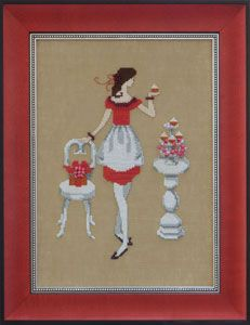 Red Sugar, The first of Nora Corbett's Red Ladies collection, this lovely lady appraises a sumptious red velvet cupcake. Model: stitched on Milk Chocolate fabric Stitch Count: x Mill Hill Beads required: required: BF - 027 DMC Floss required: 169 Cross Stitch Kitchen, Just Cross Stitch, Cross Stitch Kits, Cross Stitch Charts, Cross Stitch Patterns, Cross Stitching, Cross Stitch Embroidery, Embroidery Patterns, Dame Chic