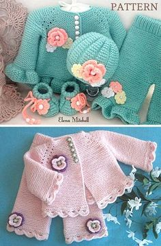 Knitting Pattern for Garter Stitch Baby Layette Set - Baby cardigan, baby pants, hat, and 2 styles of booties knit in garter stitch. Options for knit edging or crochet edging. Sizes 0 – 3 months and 3 – 6 months. Worsted weight yarn. Designed by Elena Mitchell