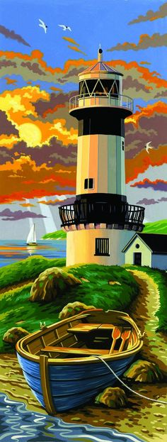 Amazon.com: Reeves 17-1/4-Inch by 6-1/4-Inch Tall Paint by Number Kit, Lighthouse