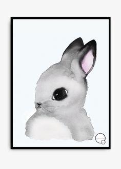 30×40 CM En söt poster målad i årets stora trend; akvarell. Denna tavla blir garanterat barnrummets finaste detalj! Finns även som katt,rådjur, mops, uggla och pingvin.
