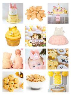 Honey Bee Party Inspiration Moodboard Baby Girl Birthday Theme, Bumble Bee Birthday, First Birthday Party Themes, Yellow Birthday, Little Girl Birthday, Birthday Ideas, Half Birthday, Birthday Stuff, Toddler Gifts