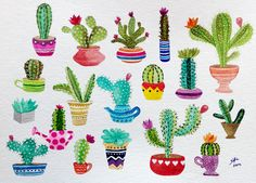 Cactus en acuarela