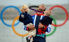 :) Olympic Wind Surfer Nick Dempsey with his sons(from The Big Picture - Boston.com)