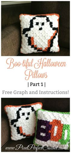 Boo-tiful Halloween Corner to Corner C2C Crochet Pillows with free graph and Instructions.
