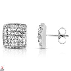 Ebay NissoniJewelry presents - Ladies' 3/4CT Diamond Micro Pave Earrings 14K White Gold    Model Number:EV3670L_W453    http://www.ebay.com/itm/Ladies-3-4CT-Diamond-Micro-Pave-Earrings-14K-White-Gold/221630374594