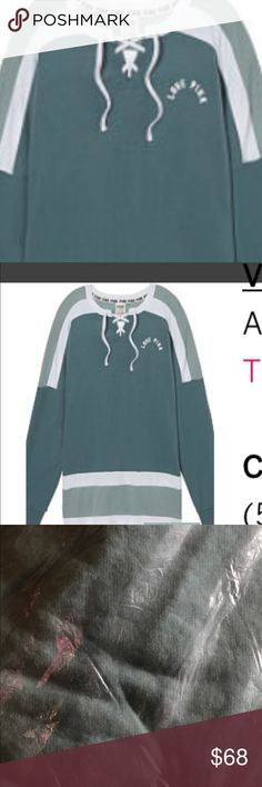 NIP VS PINK XS LACE UP VARSITY CREW NIP VICTORIA SECRET PINK LACE UP VARSITY CREW IN STATUS BLUE AND SUCCULENT GREEN SOLD OUT PINK Victoria's Secret Tops Sweatshirts & Hoodies