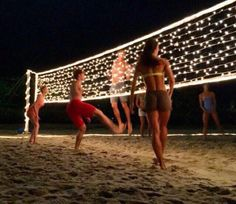 String lights on a volleyball net at night, great idea for birthday or spring/summer party for teens, tweens, youth or church groups. Perfect for an end of the school year party celebration! (End Of Summer Party) Summer Nights, Summer Vibes, Summer Fun, Spring Summer, Party Summer, Holiday Nights, 2017 Summer, Summer Goals, Backyard Games