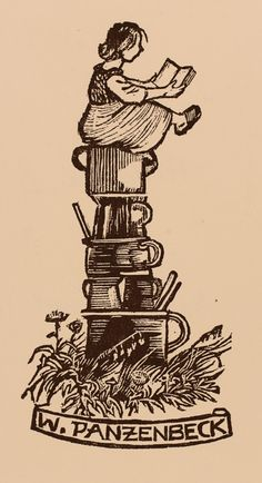 Exlibris by Hans Hauke from Austria for W Panzenbeck - Food - Wood engraving Ex Libris, Gravure Illustration, Engraving Art, Vintage Vibes, Linocut Prints, Vintage Prints, Printmaking, Illustrations, Hand Carved