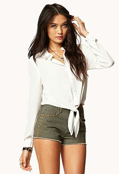 military green studded shorts and white front tie blouse <3