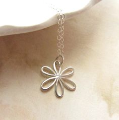 Daisy sterling silver charm necklace by RachellesJewelryBox