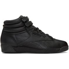 Reebok Classics Black Freestyle High-Top Sneakers ($68) ❤ liked on Polyvore featuring shoes, sneakers, black, black velcro sneakers, reebok sneakers, reebok trainers, high-top sneakers and high top shoes