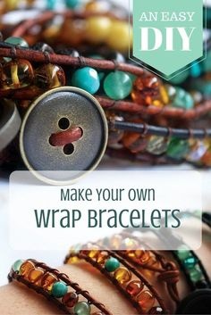 Make your own wrap bracelets using old amber necklaces or any other beads you have at home. Make your own wrap bracelets using old amber necklaces or any other beads you have at home. Wrap Bracelet Tutorial, Bracelet Wrap, Beaded Wrap Bracelets, Bracelet Making, Leather Wrap Bracelets, Jewelry Bracelets, Make Your Own Bracelet, Hemp Bracelets, Couple Bracelets