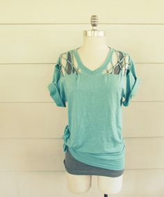 Lattice Shoulder Cutout Tee | 31 T-Shirt DIYs That Are Perfect For Summer