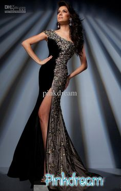 Black Mermaid Trumpet One Shoulder Prom Dress HOT Rhinestone colorful Beads Evening Dresses KH108, Free shipping, $203.84-226.24/Piece | DHgate