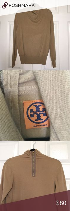 Tory Burch light brown cashmere sweater Tory Burch light brown cashmere sweater. Zipper on back & kind of a high cowl neck on front. Excellent condition. 100% cashmere. Tory Burch Sweaters Cowl & Turtlenecks