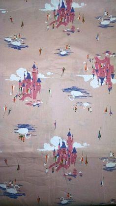 Vintage 1950s Novelty Print Disneyland Fabric 3.5 Yards Rare Disney Pink