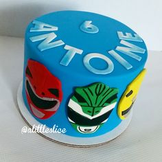 Power Rangers personal cake follow us on Instagram @ alittleslice Power Ranger Cupcakes, Power Ranger Cake, Power Ranger Party, Power Ranger Birthday, 4th Birthday Parties, 5th Birthday, Birthday Celebration, Tortas Power Rangers, Cake Logo