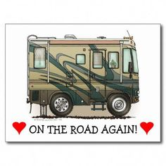 Shop Cute Happy Camper Big RV Coach Motorhome Postcard created by Personalize it with photos & text or purchase as is! Happy Campers, Paint Rv, Volkswagen, Camper Signs, Class A Rv, Van Camping, Camping Quilts, Camping List, Camping Ideas