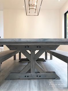 How to Build a Farmhouse Table and Benches – Julie W. Berry Home Farmhouse Dining Room Table, Dinning Room Tables, Diy Dining Table, Farmhouse Furniture, Bar Tables, Wood Tables, Side Tables, Coffee Tables, Farm Table Plans