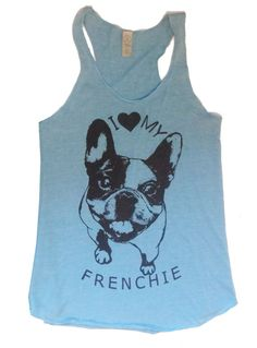 Womens FRENCHIE French Bulldog Tri Blend Tank Top by FreeBirdCloth, $20.00