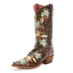 Macie Bean Floral Pointed Toe Brown Cowgirl Boots