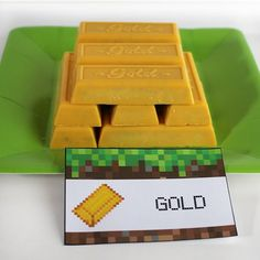 Gold - Gold Bar Biscuits. Minecraft party food