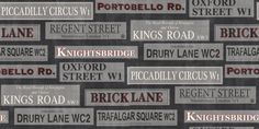 Streets of London (31182) - Albany Wallpapers - A modern design with London street names in plaques, creating an all over tile pattern.  Shown in the black, white and grey with red highlights. Please request sample for true colour match.