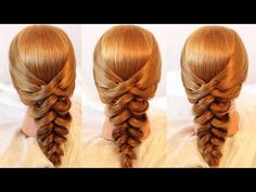 Criss Cross Pull Through Hairstyle Video Tutorial. **No step by step instructions given, only visual steps shown.