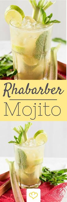 Süß-saurer Rhabarber Mojito – Erfrischung mit Schuss Lime, rum, lemon balm and fresh mint: that sounds like Mojito – classic. Sour Cocktail, Mojito Cocktail, Cocktail Menu, Cocktail Recipes, Drink Recipes, Rhubarb Mojito, Beach Cocktails, Wine Cocktails, Snacks