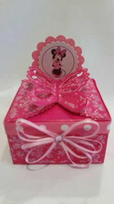 Minnie Mouse party favors butterfly box. Check out this item in my Etsy shop https://www.etsy.com/listing/258779889/minnie-mouse-party-favors-butterfly-box