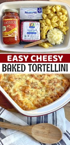 Looking for easy ground beef recipes for dinner? My kids love this cheesy tortellini casserole!