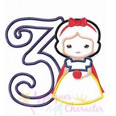 Snow White Cutie THREE Applique Embroidery Machine Design 4 Hoop sizes Instant Download by appliqueswcharacter on Etsy