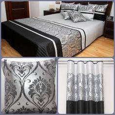 Komplet do sypialni w kolorze czarnym ze srebnym ornamentem
