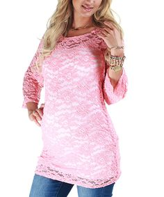 Take a look at this PinkBlush Maternity Coral Lace Maternity Top on zulily today!