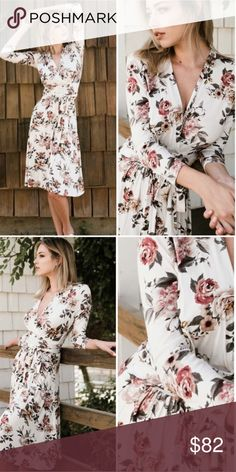 Farm Floral Chic Dress Lovely rose pattern floral dress. Wrap around style with tie close.  V neck and longer length. Made from Rayon and Spandex in the US. Dresses