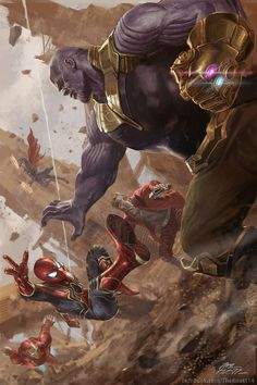 Avengers vs Thanos 'Avengers: Infinity War' by TheKnott Tarasilp Marvel Fanart, Marvel Comics, Marvel Heroes, Marvel Characters, Spiderman Marvel, Marvel Marvel, Thanos Avengers, Daredevil Punisher, Mundo Marvel
